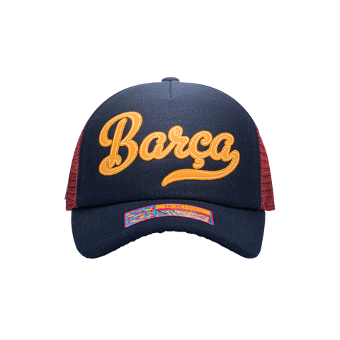 Blue Yellow Red FC Barcelona Script Stop Trucker with Blue bill, blue button and maroon back panels