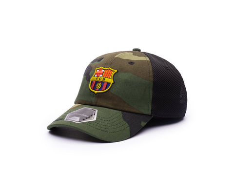 View of left side of camo FC Barcelona Camo Classic Trucker