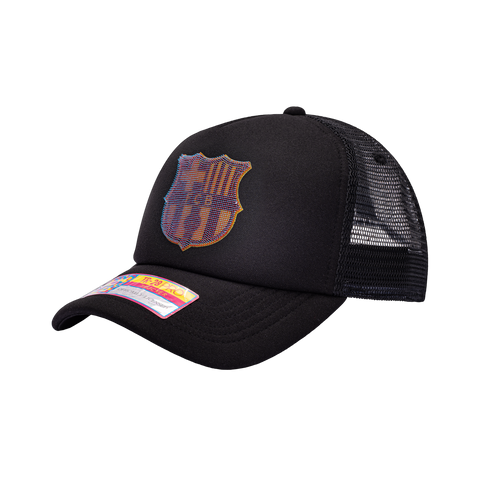 View of left side of FC Barcelona Shield Trucker