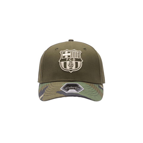 Camo FC Barcelona Half Camo Adjustable Olive green crown and camo bill