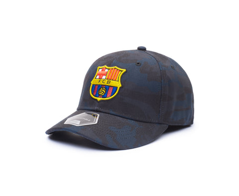 View of left side of blue camo FC Barcelona Arrow Adjustable