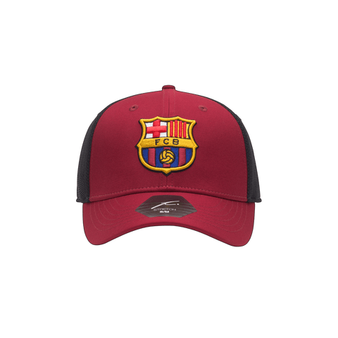 Red and black FC Barcelona Breakaway Stretch Red crown and bill with black panels