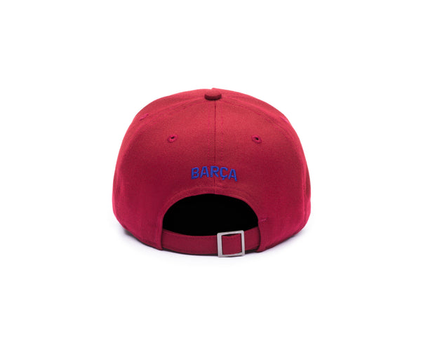 "Back view of FC Barcelona Cult Snapback with team name embroidered on the back ""Barca"""