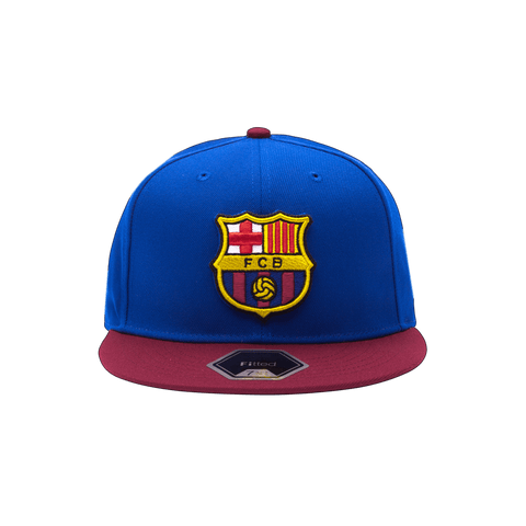 Blue and burgundy FC Barcelona Team Patch Fitted Blue crown with burgundy bill