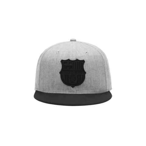 Grey FC Barcelona Tie Breaker Snapback with black bill and team emblem