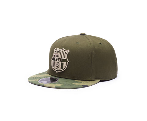 View of left side of FC Barcelona Half Camo Snapback