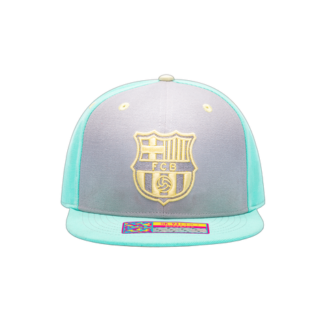 Grey and green FC Barcelona Soft Touch Snapback