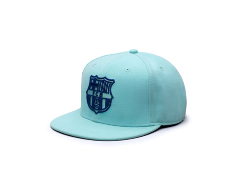 View of Left side of Green/blue Products FC Barcelona Retro Capsule Snapback Hat