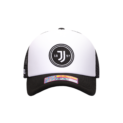 Black White Juventus Script Stop Trucker with black bill, black back panels, and black button on top with white in front