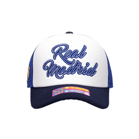 Blue White Real Madrid Script Stop Trucker with Navy bill and button on top with blue back panels