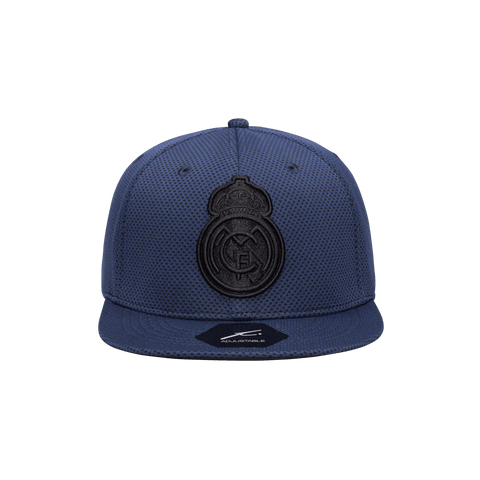 Dark Blue Real Madrid Trophy Snapback with black emblem