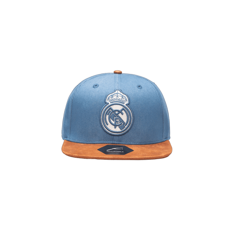 Blue Real Madrid Orion Snapback with brown bill and button