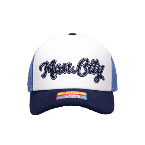 Blue White Manchester City Script Stop Trucker with Navy Bill and Button on top with Blue back panels