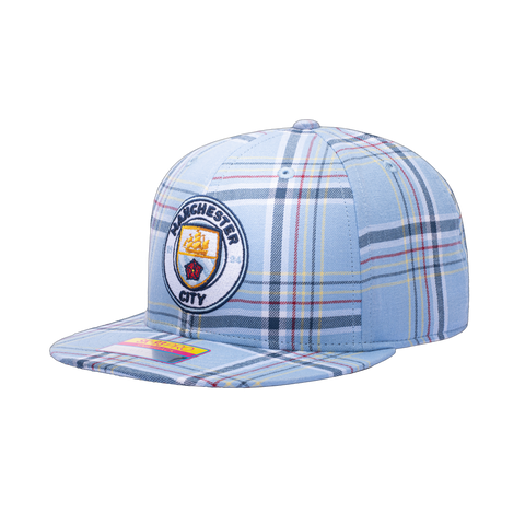 View of left side of Manchester City Hooligan Snapback blue plaid plaid