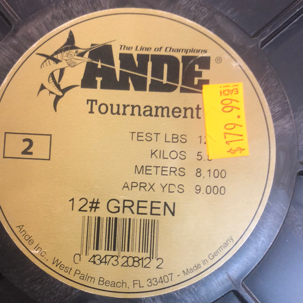 Ande Tournament 12lb green 2lb spool