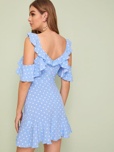 Polka-dot Cold Shoulder Ruffle Trim Dress - SimplyMorgans Boutique