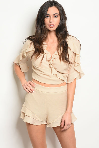 Beige Shorts & Top Set - SimplyMorgans,Women - Apparel - Lingerie and Sleepwear - Pajama Sets - Clothing