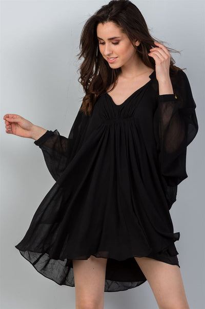 Ladies fashion v neckline black batwing sleeves ruched front mini dress - SimplyMorgans Boutique