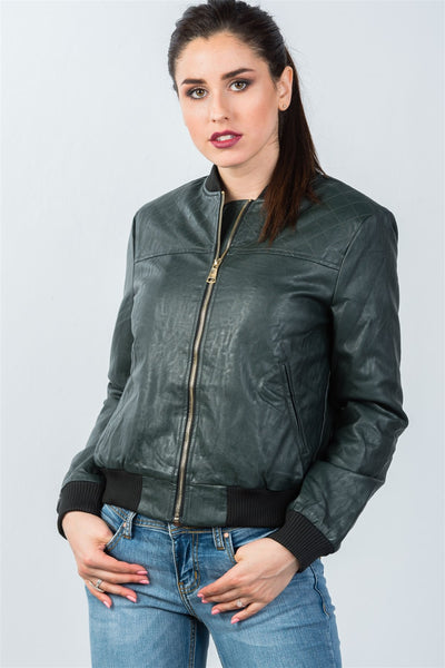 Ladies fashion fully lined peacock pleather bomber jacket - SimplyMorgans Boutique