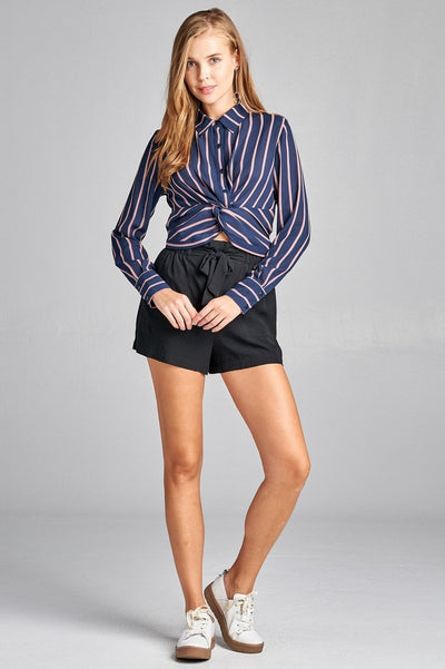 Ladies fashion long sleeve front button w/twisted detail stripe print woven shirt - SimplyMorgans Boutique