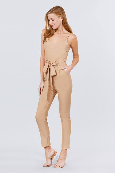Cami Strap V-neck Belted Tie W/back Zipper Jumpsuit
