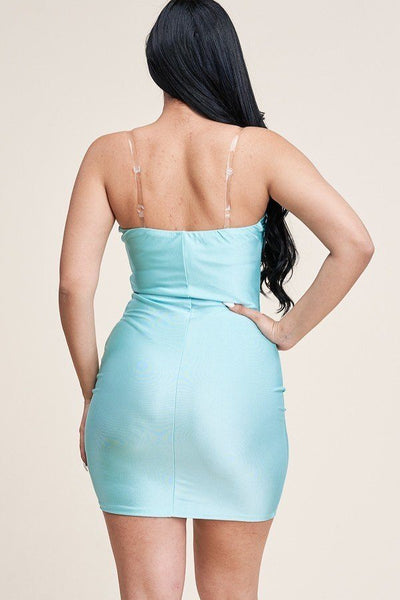 Solid Tank Dress With Clear Bra Straps