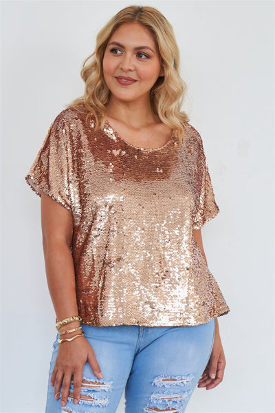 Plus Size Rose Gold Short Sleeve Sequin Top