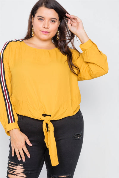 Plus Size Color Block Sleeve Front Knot Semi-sheer Top