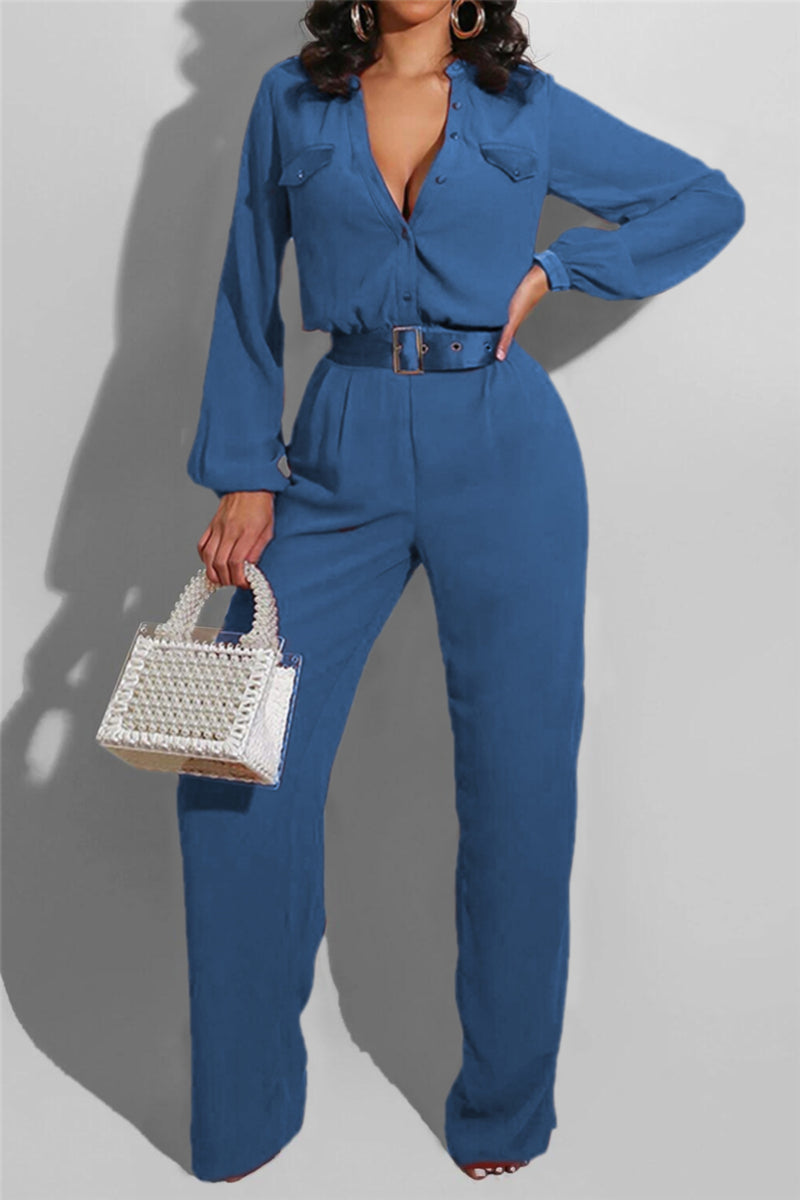 Wide Leg Jumpsuit (Belt not included)