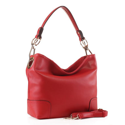 Amily Soft Vegan Leather Hobo Bag - Red