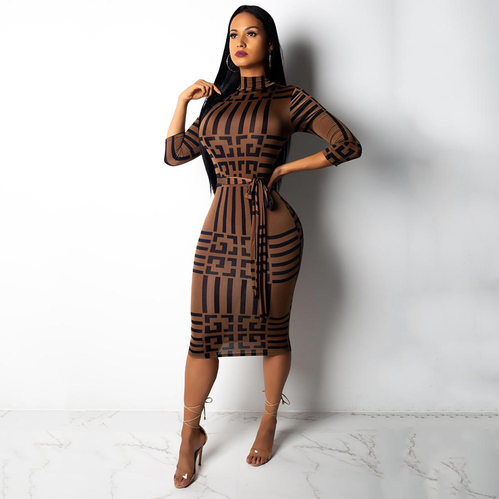 Turtleneck Short Sleeve Print Bodycon Midi Dress