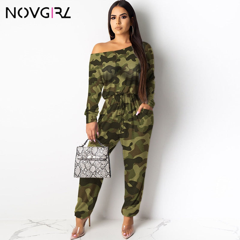 Camouflage Leopard Plaid Cotton Jumpsuit
