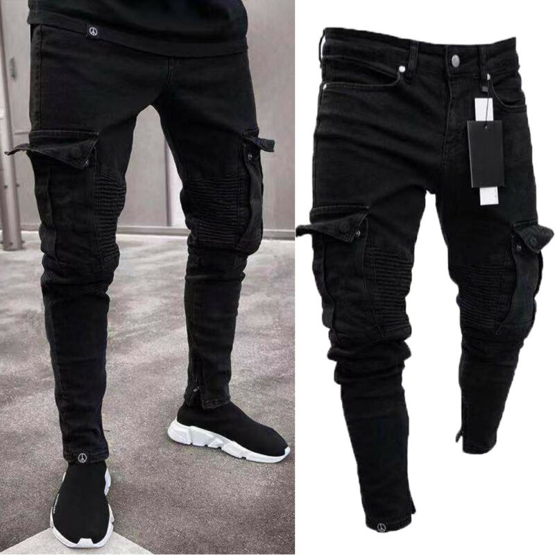 Long Pencil Pants Ripped Jeans