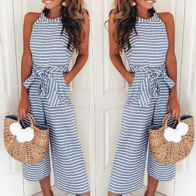 Striped Printed Lace-up Overall - SimplyMorgans, - Clothing