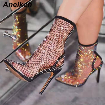 Aneikeh 2020 Spring Sexy Bling CRYSTAL Mesh Pumps Shoes Woman Fetish Thin High Heel PVC Pointed end Stripper Slip-On Party Shoes