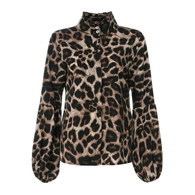 Plus Size Tops Celmia Women High Neck Lantern Sleeve Fashion Blouse Long Sleeve Leopard Print Ladies Shirts Casual Blusas Femme