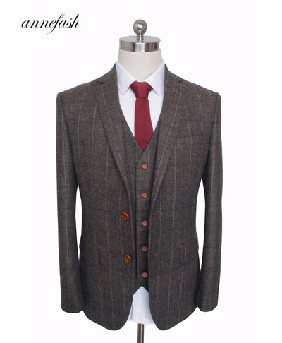 Woolen dark brown Herringbone Tweed British style Mens suit tailor slim suit 3pcs