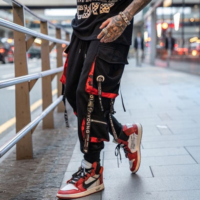 Men Hip Hop Black Cargo Pants joggers Sweatpants Overalls Men Ribbons Streetwear Harem Pants Women Fashions Trousers
