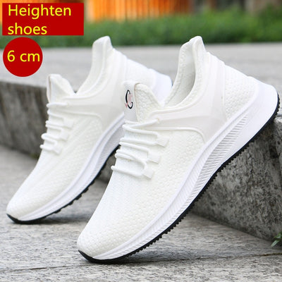 2020 new sports shoes men's breathable casual mesh shoes comfort increase lace-up non-slip low-top running shoes