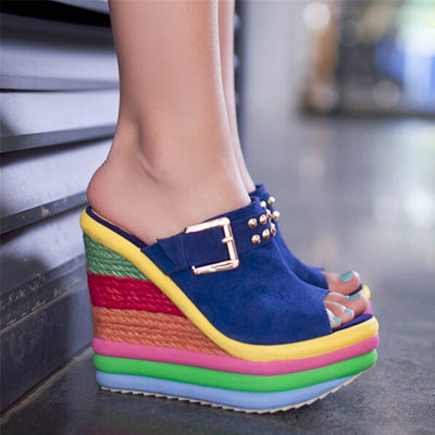 2020 New Summer Sexy Bohemia Casual Rainbow Peep Toe Platform Sandals For Womens Wedges Sandalias Plataforma Shoes High Y5263