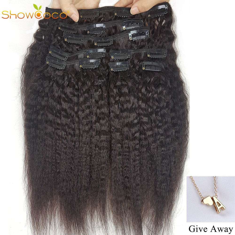 ShowCoco Clip-in One Head Human Hair Kinky Straight Three Layer Wefts Machine-made Remy Real Brazilian Clip In Hair Extensions