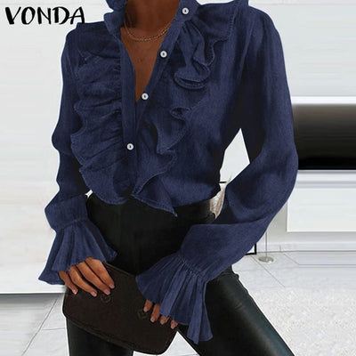Women Autumn Blouse Demin Office Ladies Tops 2020 VONDA Casual Loose Long Sleeve Lapel Neck Party Shirts Plus Size Tunic S-5XL