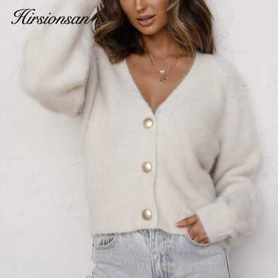 Hirsionsan Elegant Long Sleeve Mohair Sweater Women 2020 New Single-breasted Female Short Cardigan Soft Flexible Knitted Sweater