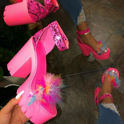 2020Luxury Fur Sandals Women Real Fox Fur Furry Ultra High Heel Platform Sandals Female Cute Fluffy House Shoes Woman