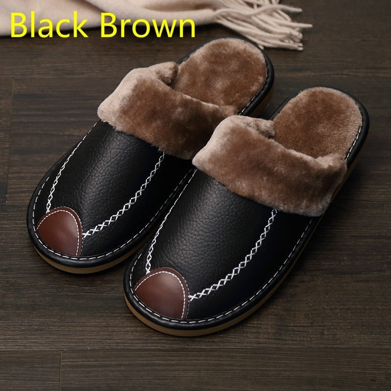 Men' New Winter PU Leather Slippers