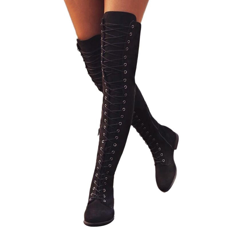 Winter Thigh High Boots  Lace Up Rubber Stretch