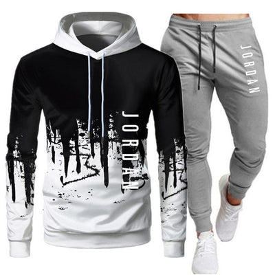 White Black Men Hoodies Set