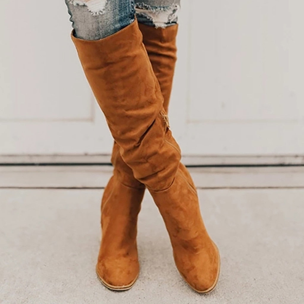 Rome Solid Zipper Chunky High Heels knee High Boots