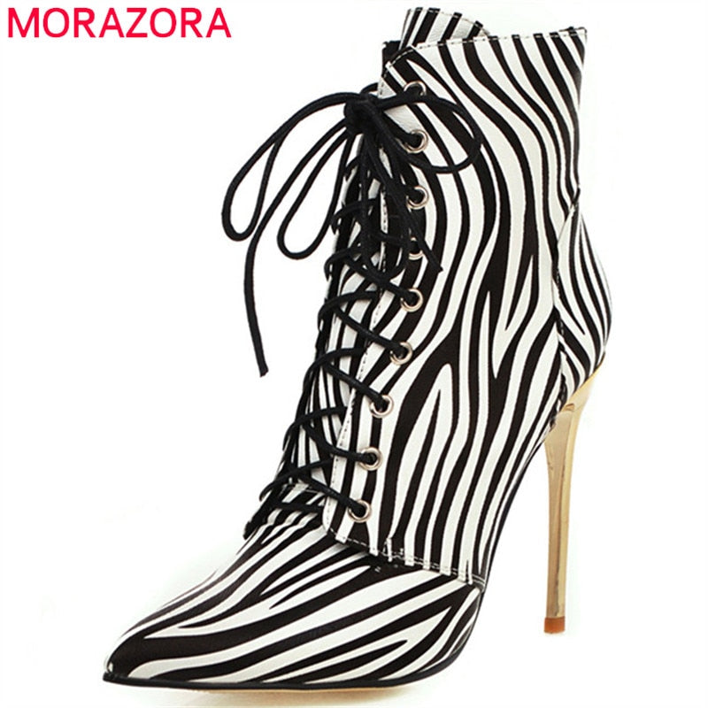 Zebra pattern pointed toe thin high heels boots