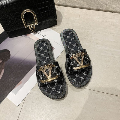 Print Metal Button Letter Slippers